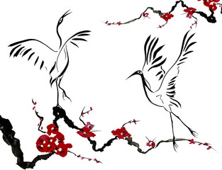 313x240 Japanese Crane Bird Drawing Red Stylized Flowers Of Plum Mei