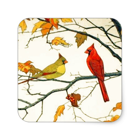 540x540 Vintage Japanese Drawing, Cardinals On A Branch Square Sticker