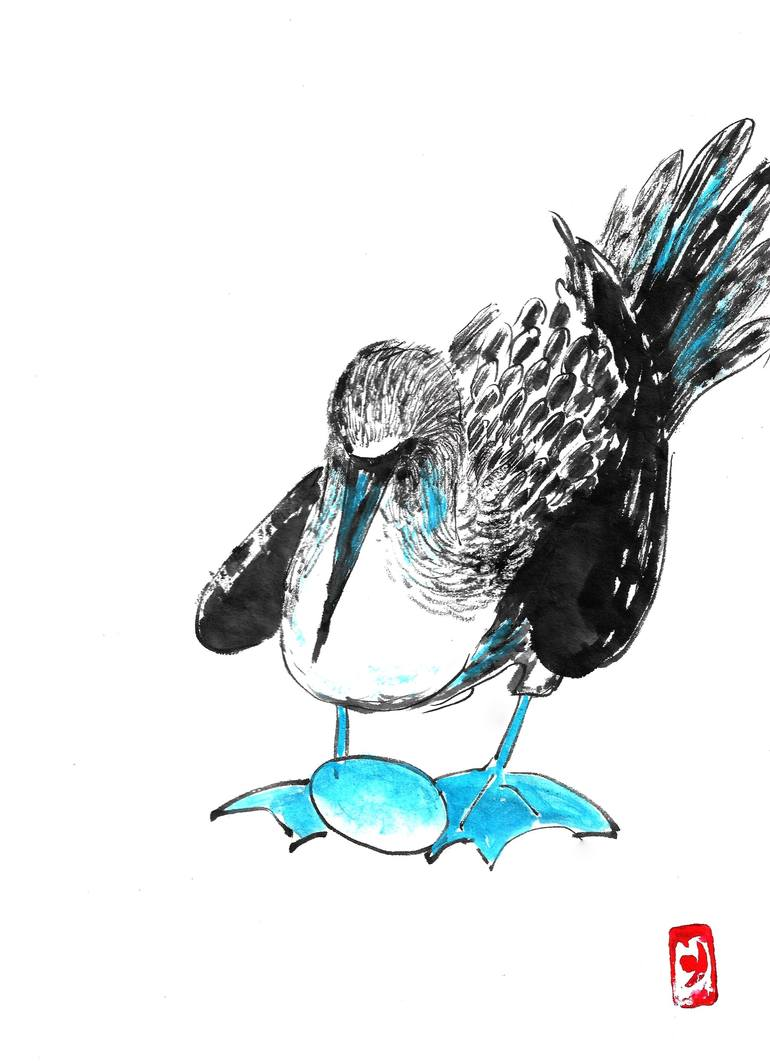 770x1063 Blue Footed Booby Sumi E Painting, Japanese Bamboo Paintbrush