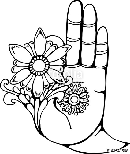 425x500 Illustration Of A Buddha Hand Holding A Flower Black And White
