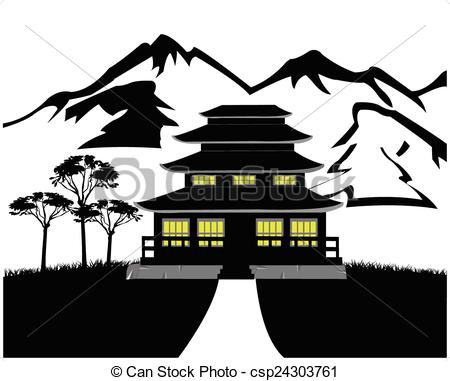 450x381 Silhouette Of The Building On Natur Black White Landscape