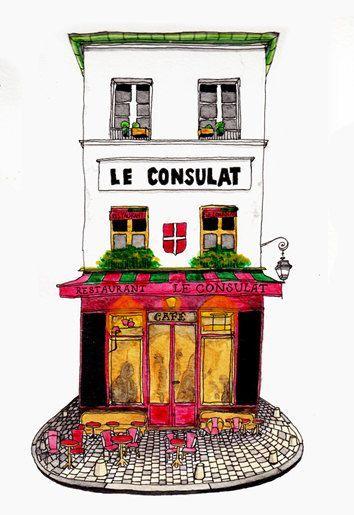 354x515 Architectural Illustration Art Print Paris