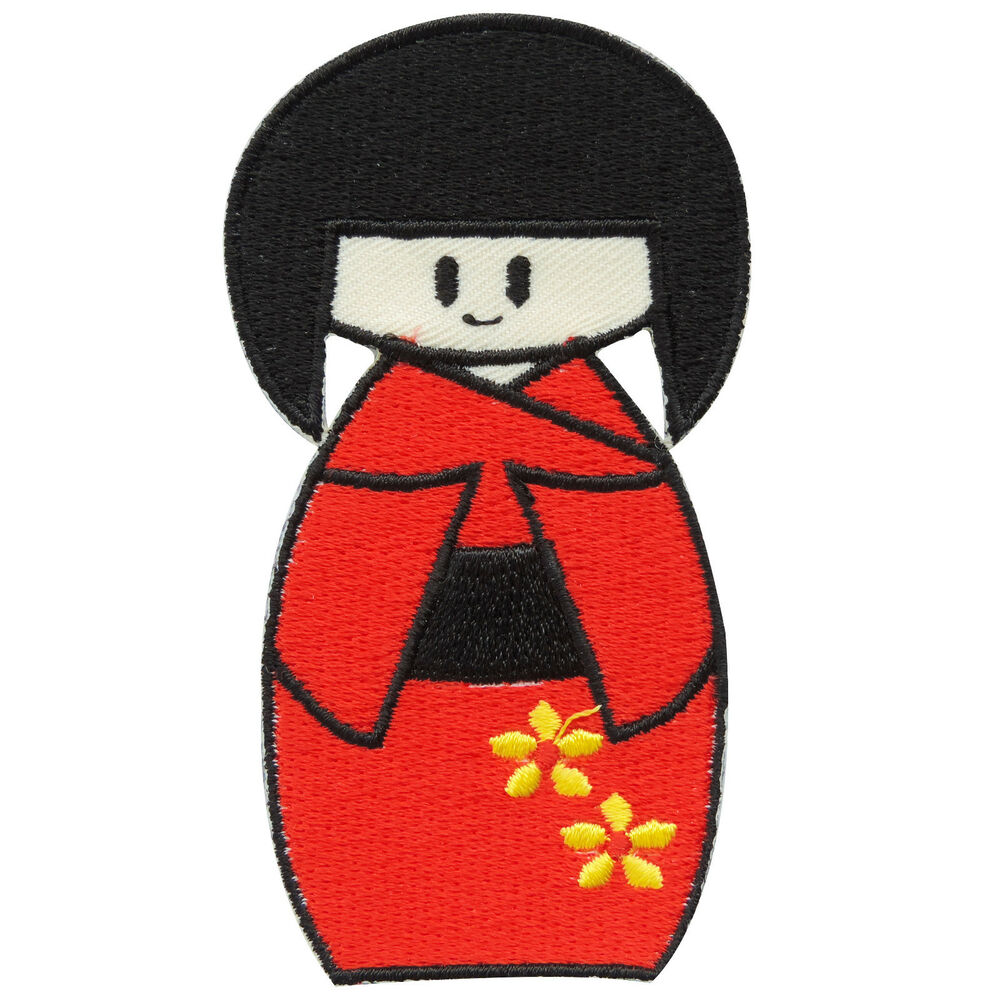 1000x1000 kokeshi red kimono doll japan japanese cartoon kids children iron