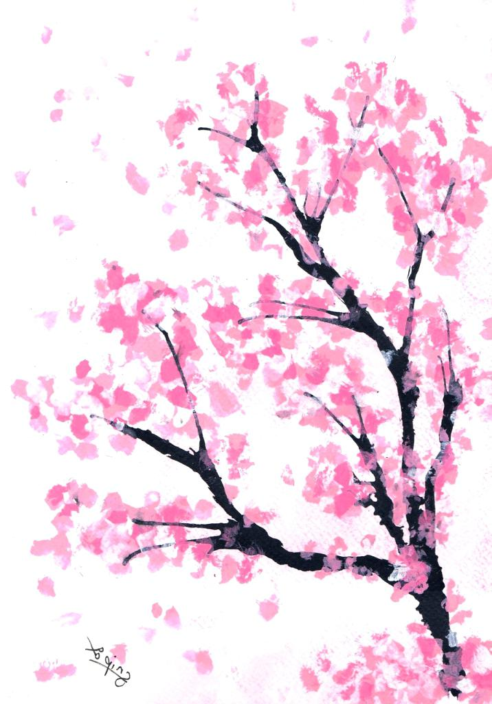 716x1024 Collection Of 'cherry Blossom Tree Branch Drawing' Download More