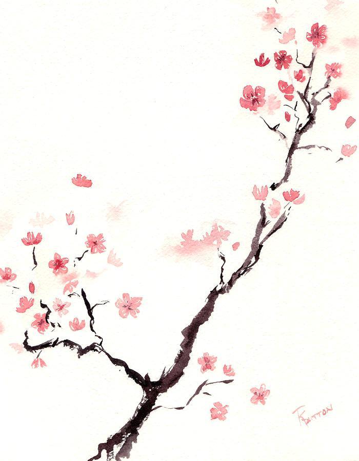 700x900 Collection Of 'japanese Sakura Drawing' Download More Than