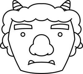 268x240 Cute Japanese Demon Mask Outline