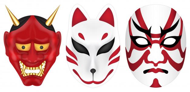 626x303 Japan Devil Fox And Kabuki Mask Set Vector Premium Download