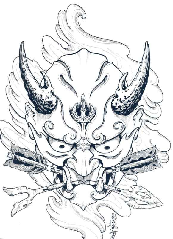 581x800 Japanese Hannya Mask Tattoo Designs