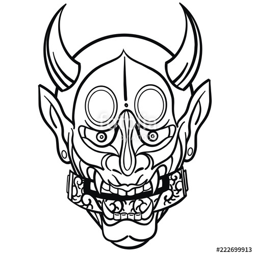 500x500 Hand Drawn Vector Illustration Of A Japanese Mask In Black