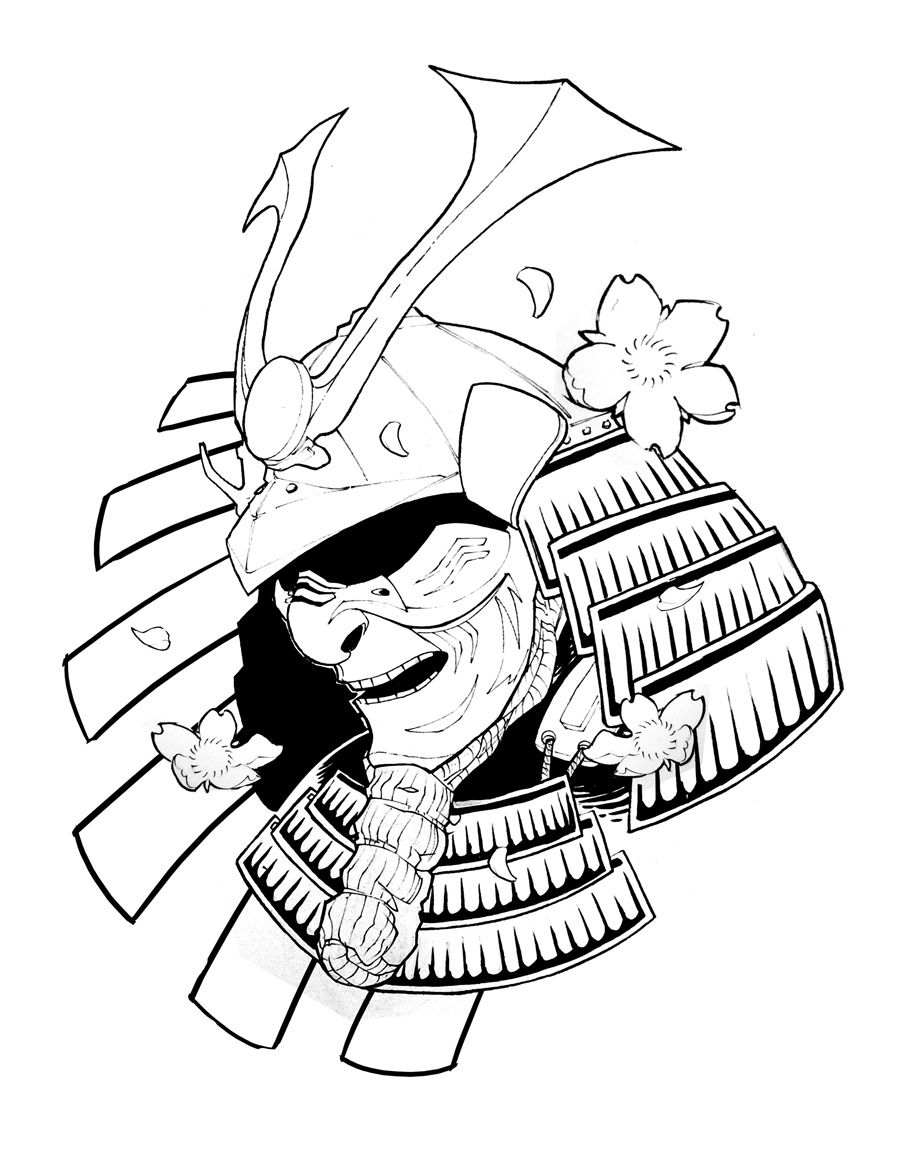 900x1165 Samurai Drawing Oni For Free Download