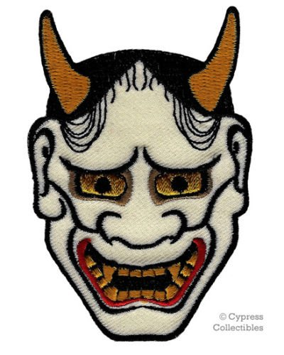 400x500 Japanese Hannya Mask Embroidered Patch Iron On Kabuki