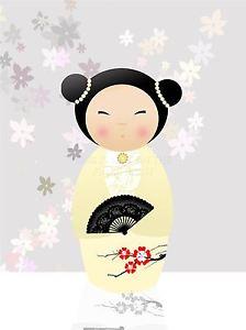 224x300 art print poster painting drawing design cartoon kokeshi doll