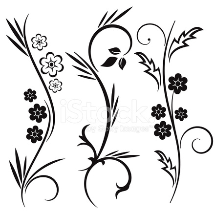 440x440 Floral Design Japanese Style Stock Vector