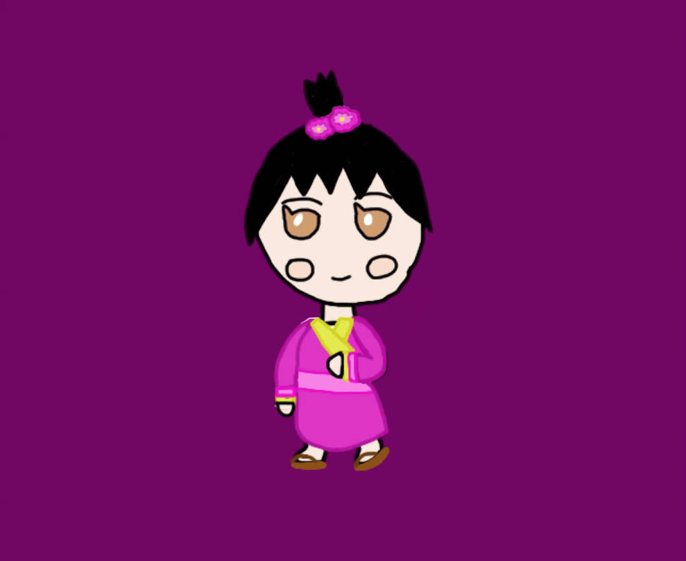 989x808 Chibi Japanese Dressed Girl Drawing