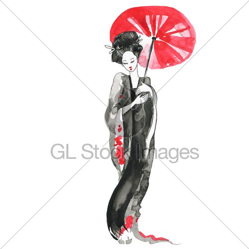 500x500 Geisha Woman In Traditional Clothing Japanese Style Gl Stock