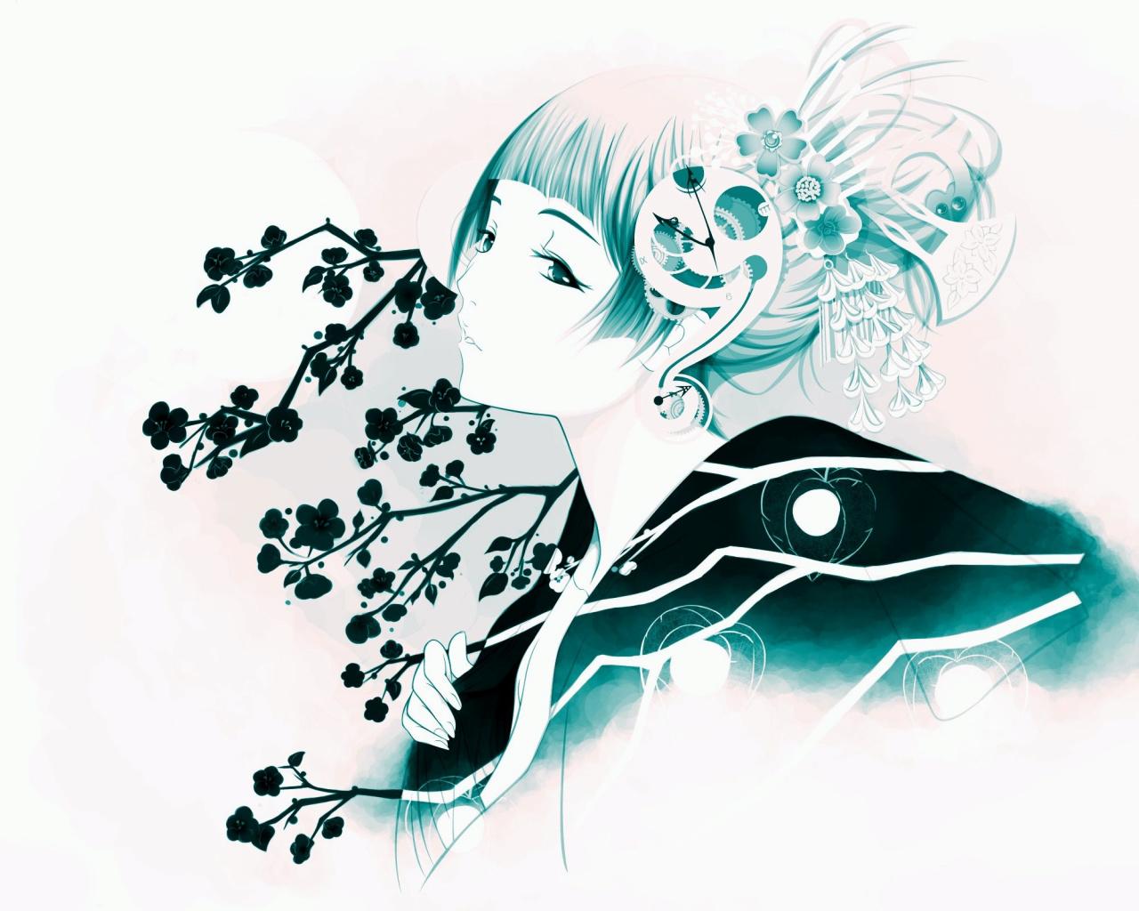 1280x1024 Japanese, Fan Art, Graphic Design, Geisha, Illustration