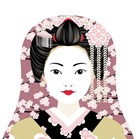 570x578 Japanese Geisha Wall Art Print Featuring Traditional Dress Etsy