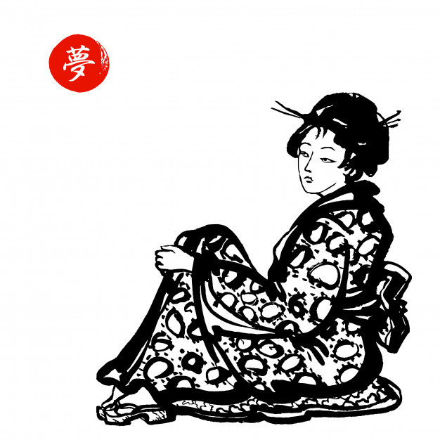 626x626 japanese geisha in kimono vector premium download