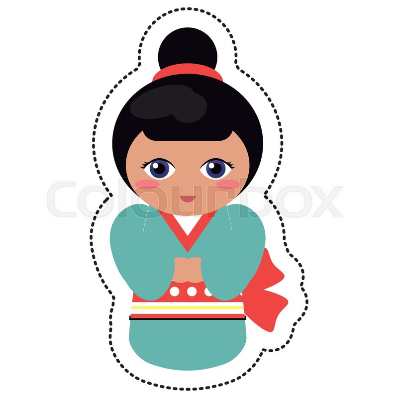 800x800 doll japanese kokeshi geisha kimono stock vector colourbox