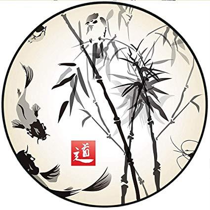 425x425 short plush short plush round rugs bamboo leaves bird