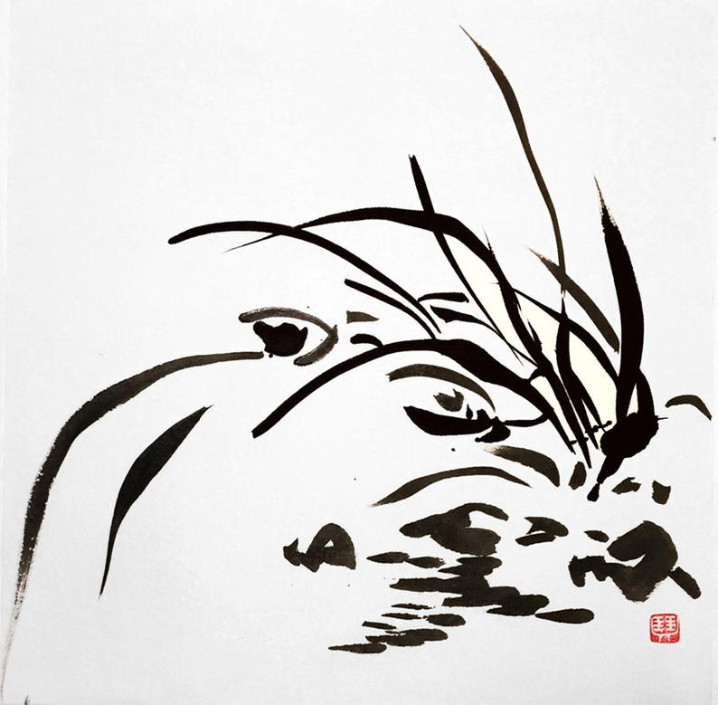 794x779 Orchid Asian Art Chinese Ink Painting Japanese Art Etsy