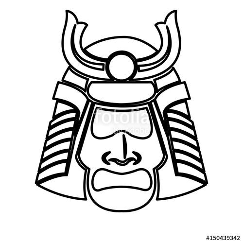 500x500 Samurai Face Mask Japanese Warrior Image Line Vector Illustration