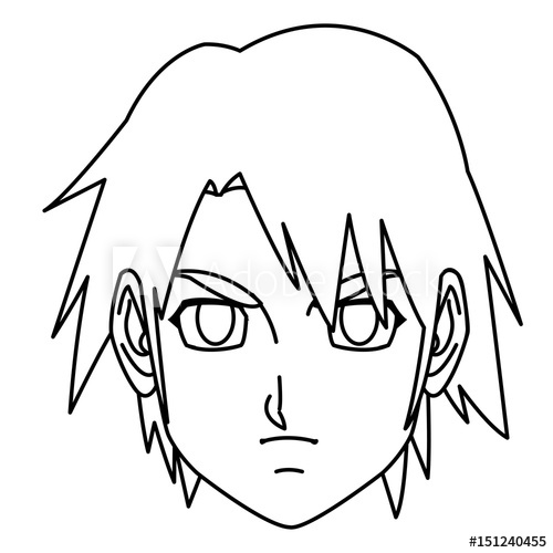 500x500 Young Guy Anime Boy Character Japanese Line Vector Illustration