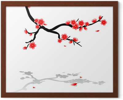 400x327 Japanese Drawing Of Cherry Tree Canvas Print