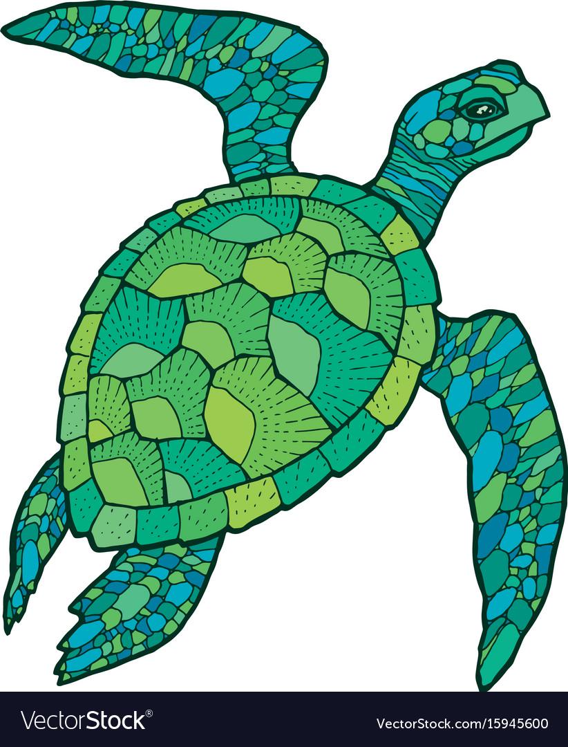 822x1080 Drawn Sea Turtle Vector