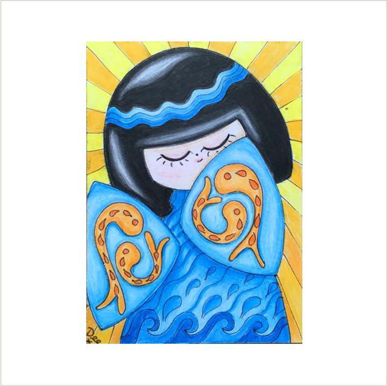 794x793 blue japanese kokeshi drawing kokeshi atc kokeshi doll aceo etsy