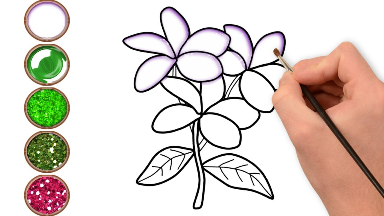 1280x720 Glitter Jasmine Flower Coloring And Drawing Learn Colors For Kids