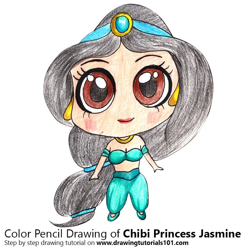 800x800 Chibi Princess Jasmine Colored Pencils