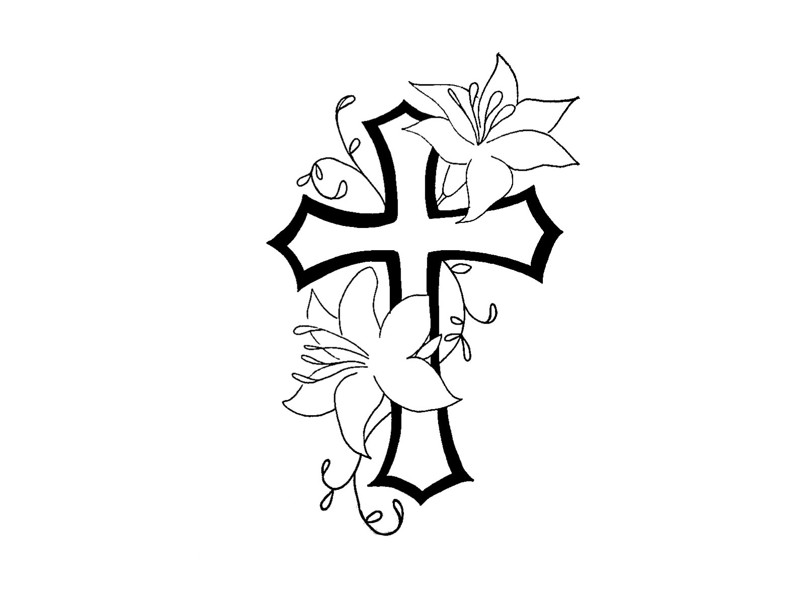 1600x1200 Cross With Flowers Drawing Cross Drawing With Flowers Cross