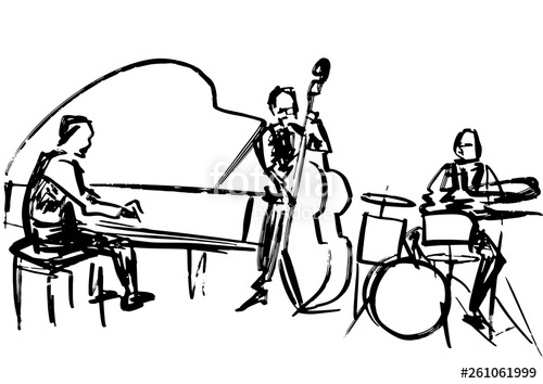 500x354 Jazz Band Contrabass Player, Pianist And Drummer Performance