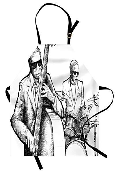409x606 Ambesonne Jazz Music Apron, Illustration Of A Jazz
