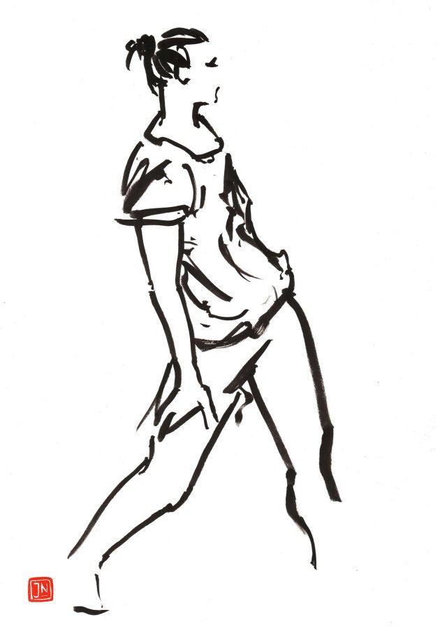640x905 Juha Nyberg, Ink Drawings, Fine Art Print, Dance Drawings