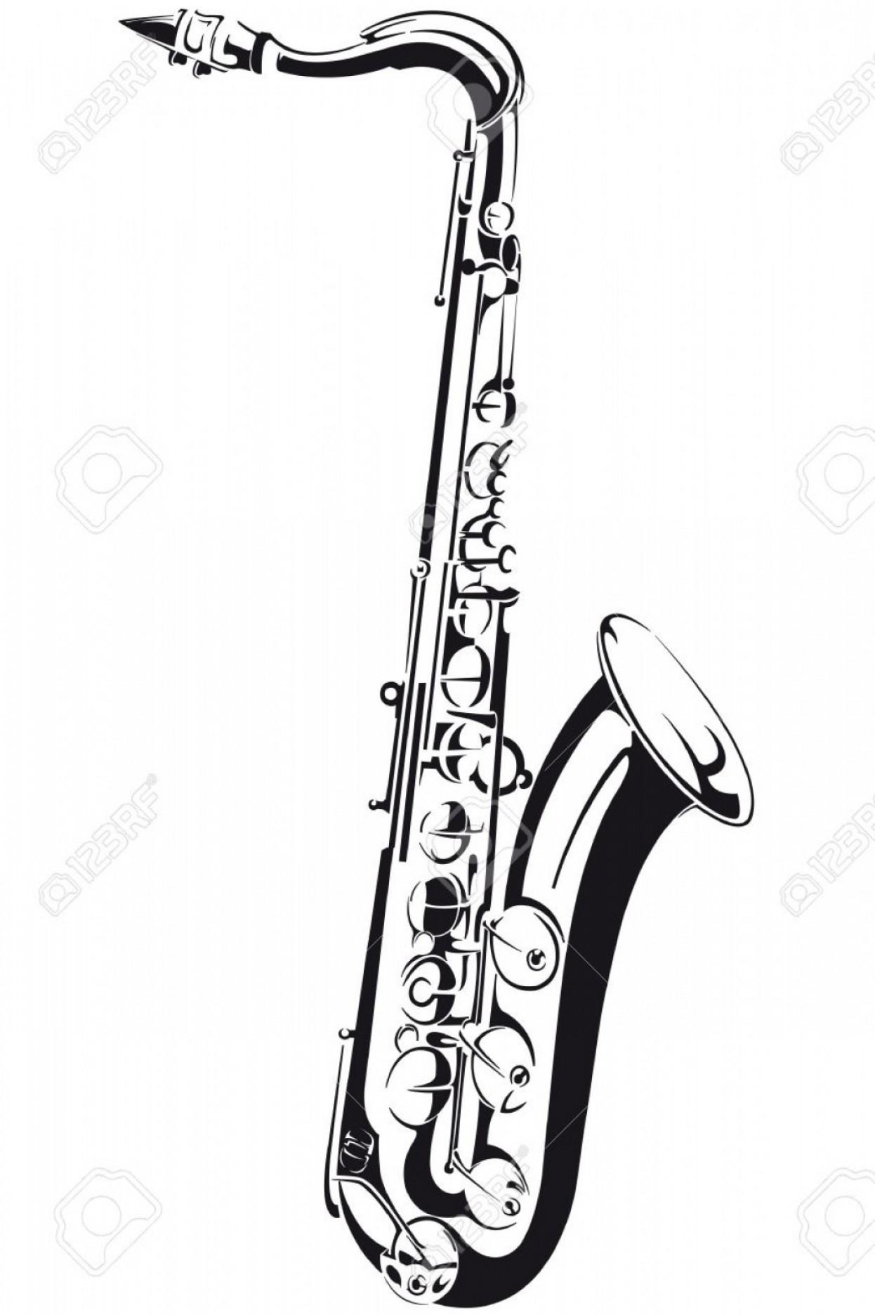 1246x1872 Photoline Drawing Of A Saxophone Isolated On Background Soidergi