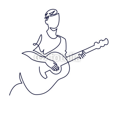 400x400 Continuous Line Drawing Of Musician Plays Acoustic Guitar Vector