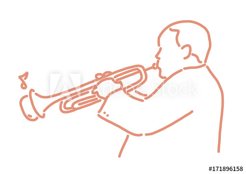 500x354 Jazz Musician With An Instrument Line Drawing Hand Drawn Vector