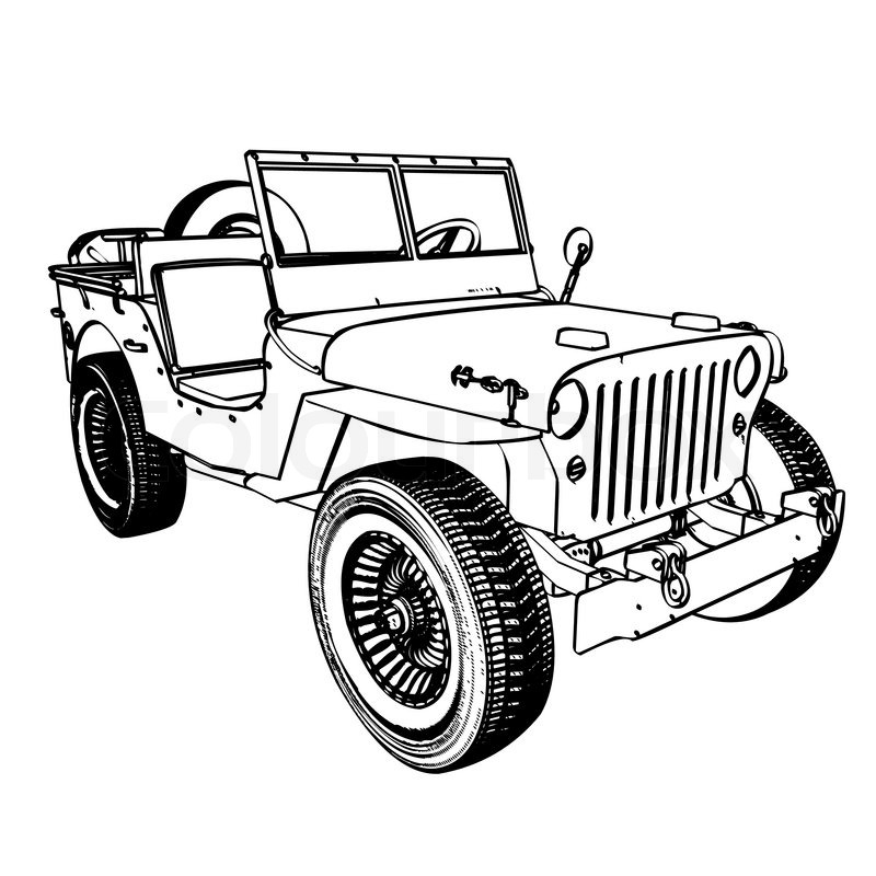 800x800 Vintage Wwii American Jeep Stock Vector Colourbox