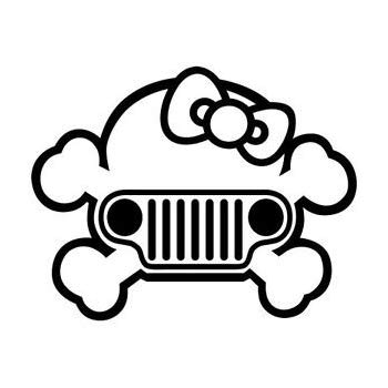 350x350 Hello Kitty Jeep Grill Premium Decal Inch Whtie