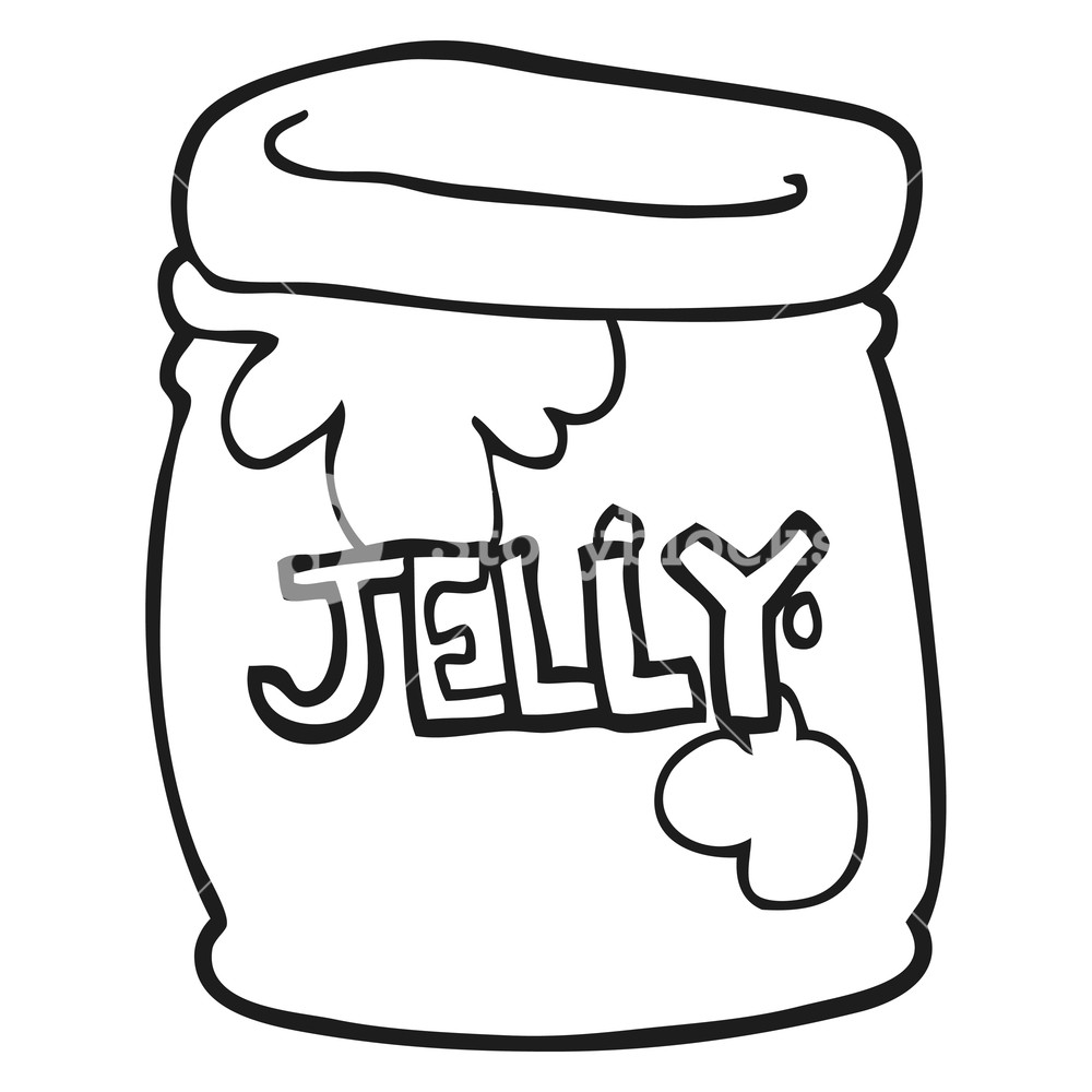 1000x1000 Freehand Drawn Black And White Cartoon Jar Of Jelly Royalty Free