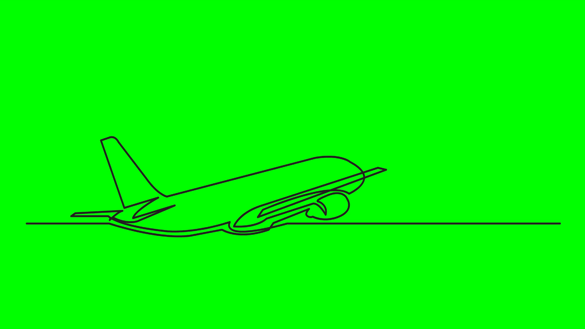 1920x1080 Continuous Line Drawing Of Passenger Jet Plane On Green Background