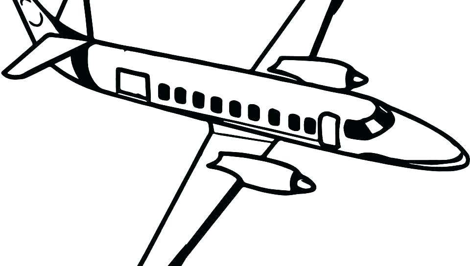 960x544 Airplane Coloring Picture