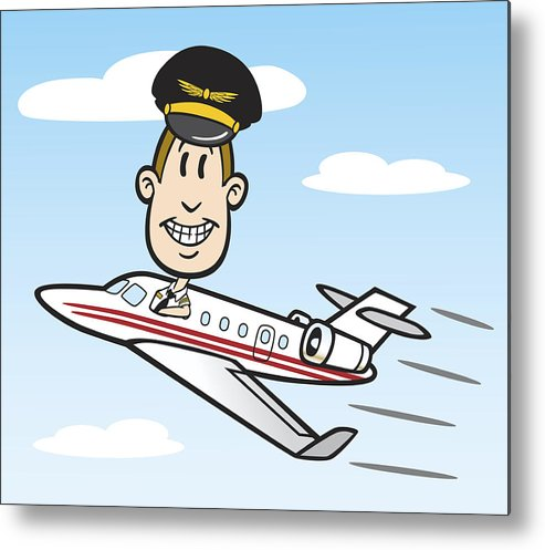 493x497 Cartoon Pilot With Jet Plane Metal Print
