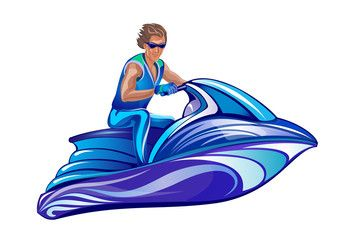 339x240 man sitting on water scooter, jet ski wall painting jet ski