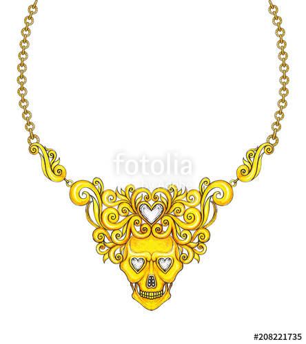 444x500 Jewelry Design Gold Skull Necklace Hand Drawing And Painting
