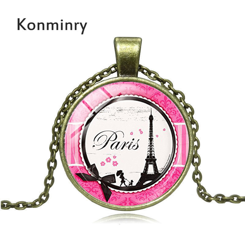 800x800 Konminry Romantic Paris Eiffel Tower Necklace Art Lady Wander