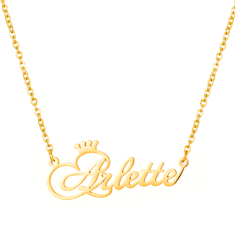 800x800 Personalized Name Crown Necklace Handmade Customized Cursive Font