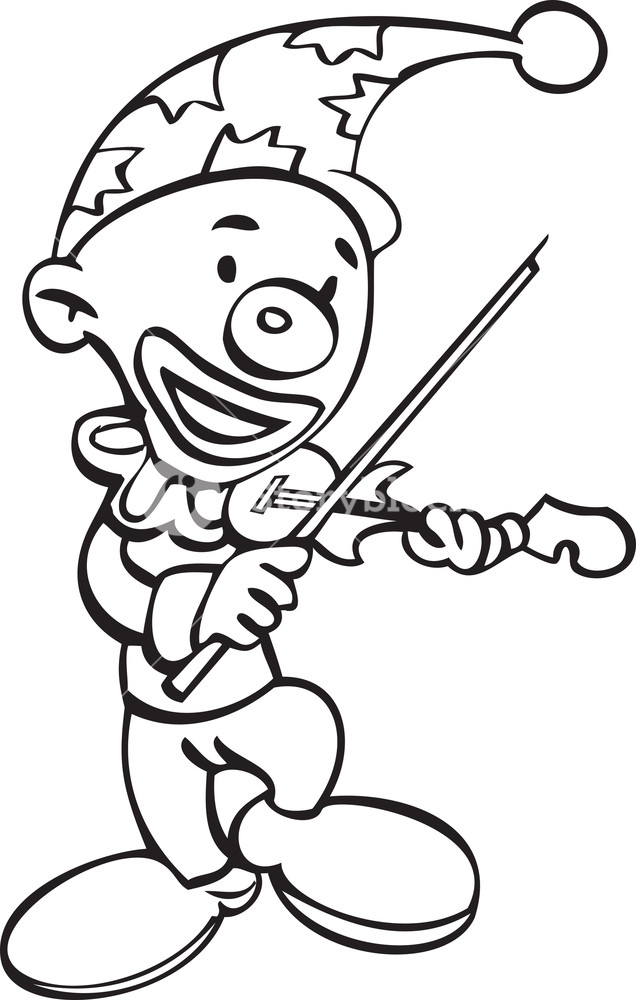 636x1000 Illustration Of A Joker With Violin Royalty Free Stock Image